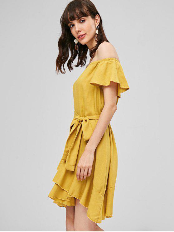 Rüschen Gürtel Kleid - Helles Gelb L