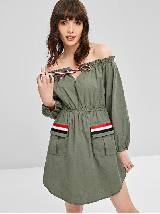 women Ruffles Off Shoulder Pockets Dress - SAGE GREEN S