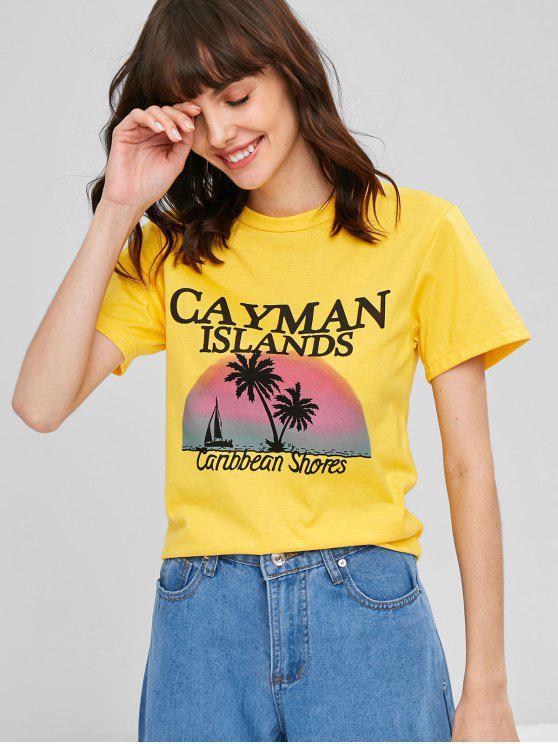 Tropical Motif Graphic T-Shirt - أصفر فاقع M