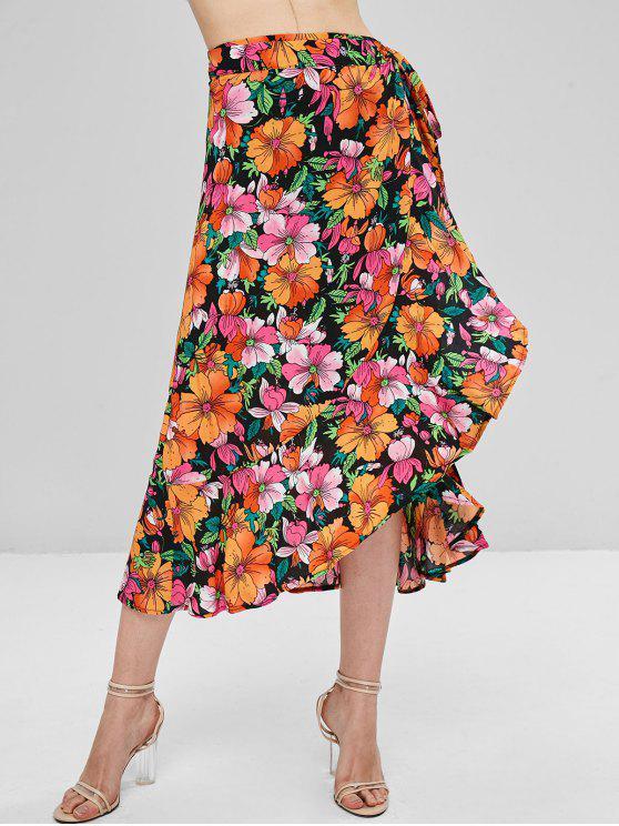 womens Floral Print Ruffle Midi Wrap Skirt - MULTI S
