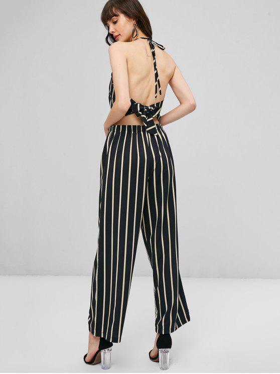 best Knotted Back Striped Pants Set - BLACK S