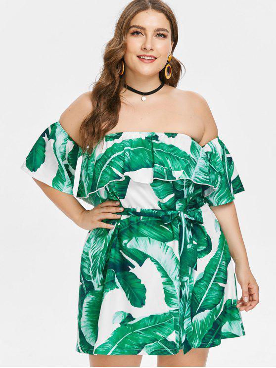 affordable Plus Size Off Shoulder Leaves Dress - GREEN 3X