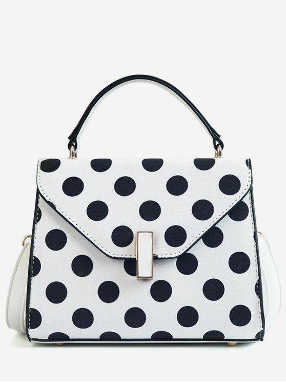 online Polka Dot Print Retro Flap Handbag with Strap - WHITE