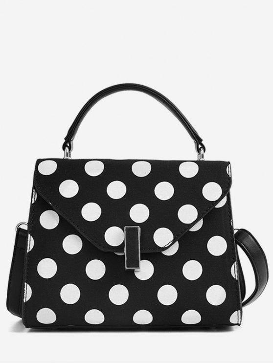 shop Polka Dot Print Retro Flap Handbag with Strap - BLACK