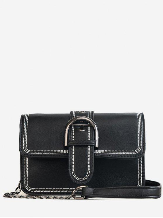 Costura Contrastando Cor PU Leather Flap Crossbody Bag - Preto
