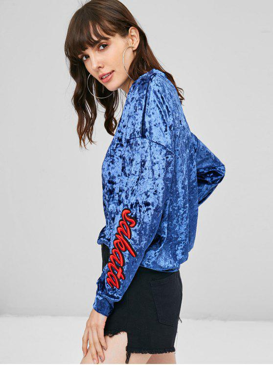 hot Letter Graphic Patched Crushed Velvet Sweatshirt - NAVY BLUE M