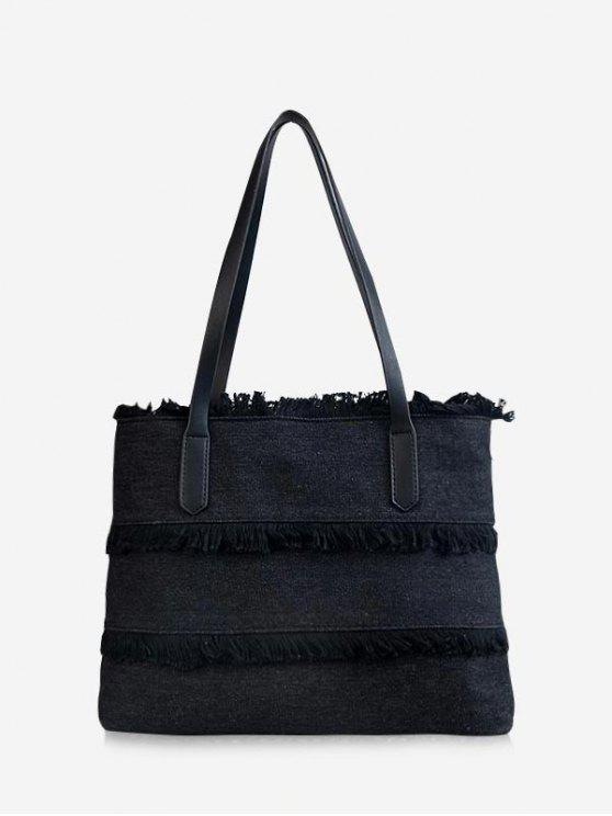 women's Contrasting Color Frayed Edge All Purpose Tote Bag - BLACK