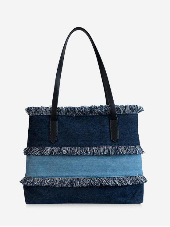 best Contrasting Color Frayed Edge All Purpose Tote Bag - DEEP BLUE