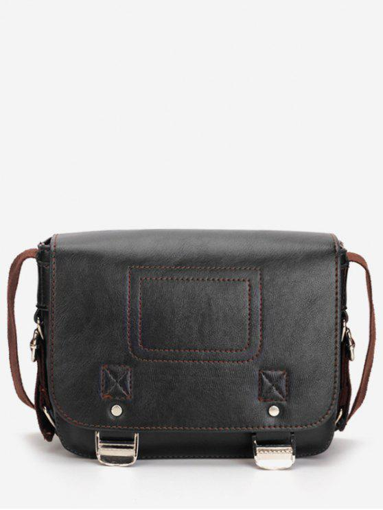 trendy Casual Flap Faux Leather Minimalist Crossbody Bag - BLACK