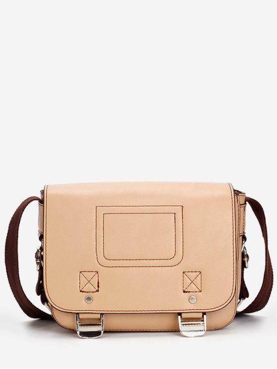 Casual Flap Faux Leather Minimalist Crossbody Bag - Caqui Claro