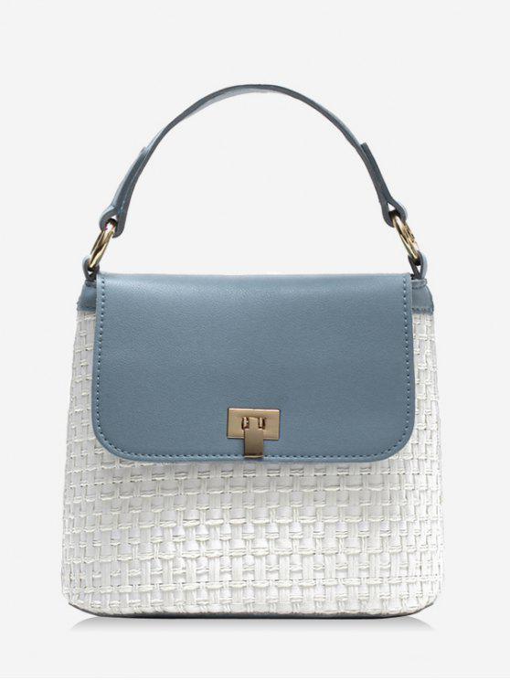 Contraste Cor Flap Straw Chic Handbag com Alça - Azul