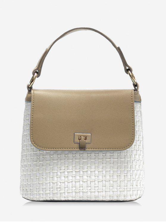 fashion Contrasting Color Flap Straw Chic Handbag with Strap - LIGHT KHAKI