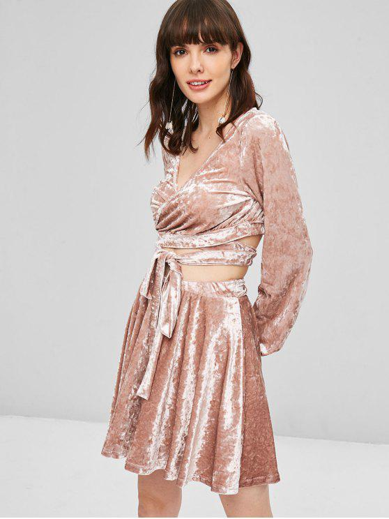 chic Velvet Wrap Top and Skirt Set - KHAKI ROSE M