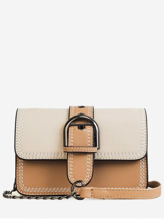 buy Stitching Contrasting Color PU Leather Flap Crossbody Bag - BEIGE