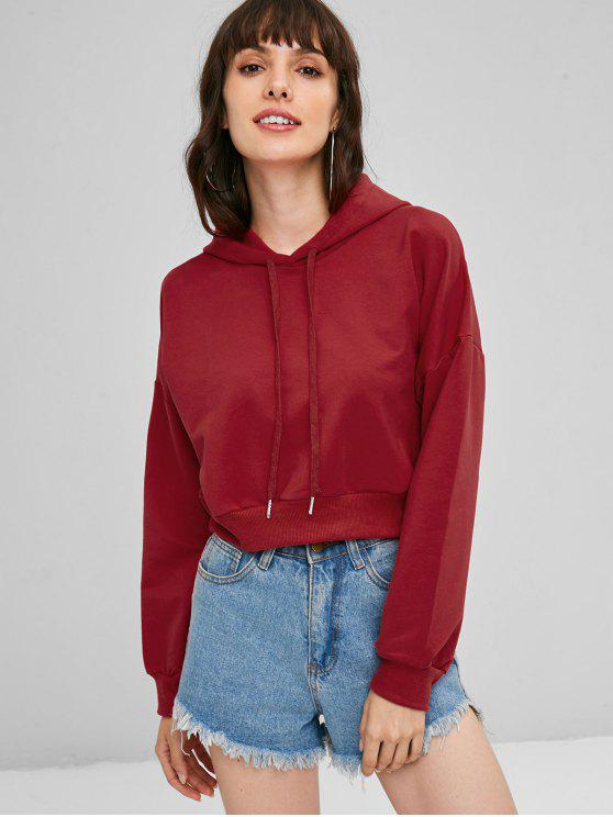 women Slouchy Pullover Cropped Hoodie - RED M