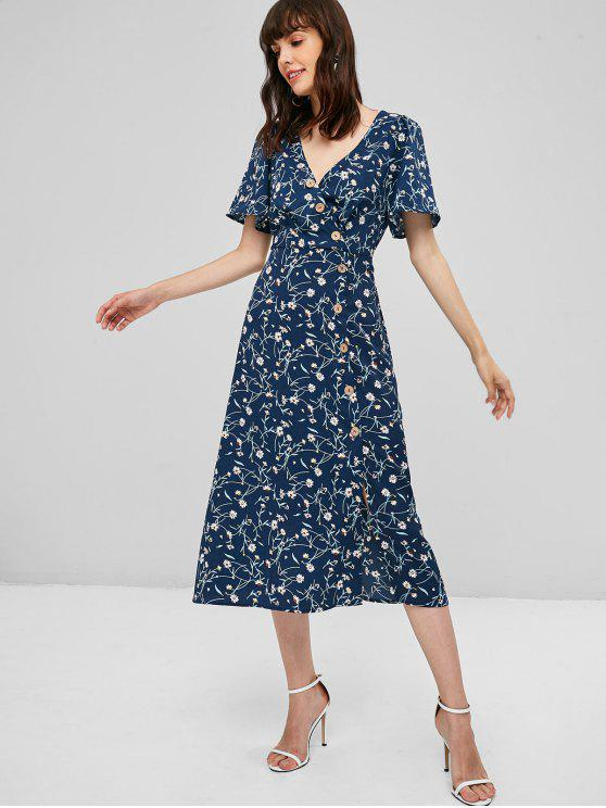 best Surplice Floral Midi Flowy Dress - MIDNIGHT BLUE S