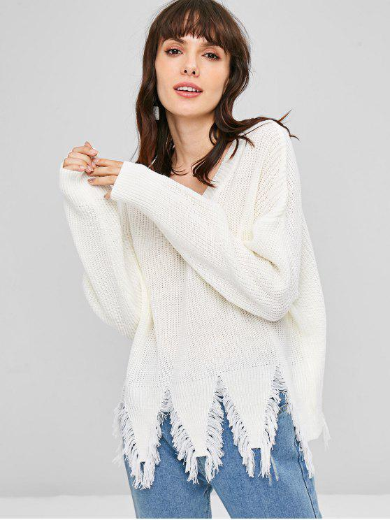 Ausgefranstes Saum Drop Schulter Pullover - Weiß Eine Größe