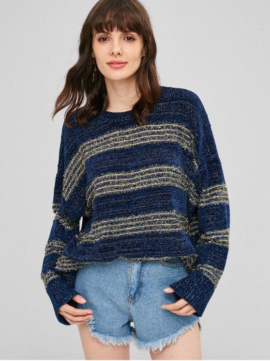 sale Drop Shoulder Shiny Sweater - DEEP BLUE ONE SIZE