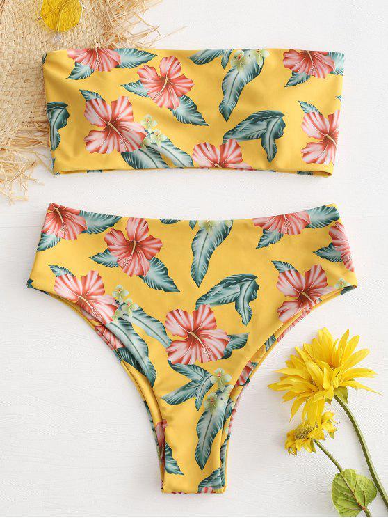 5dc5510c20941 17% OFF] 2019 Strapless Flower High Waisted Bikini Set In BRIGHT ...