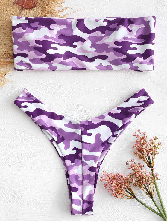 women Strapless High Leg Camo Bikini Set - PURPLE M