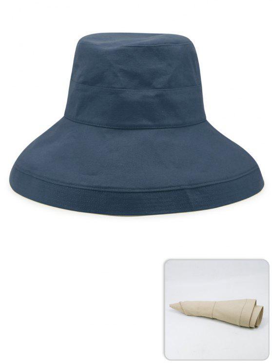 Chapeau de Pêcheur Léger Portable de Couleur Unie - Marbre Bleu