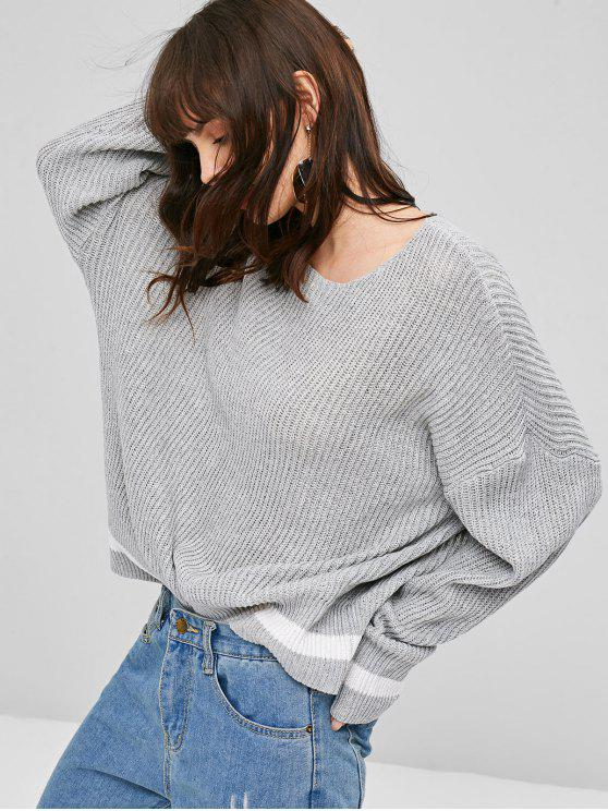 outfits Textured Drop Shoulder Sweater - GRAY ONE SIZE