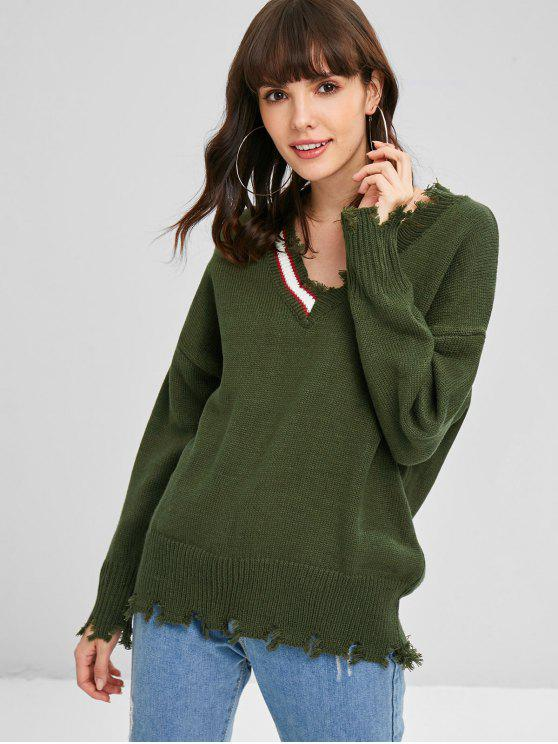 shop V Neck Ripped Sweater - ARMY GREEN ONE SIZE