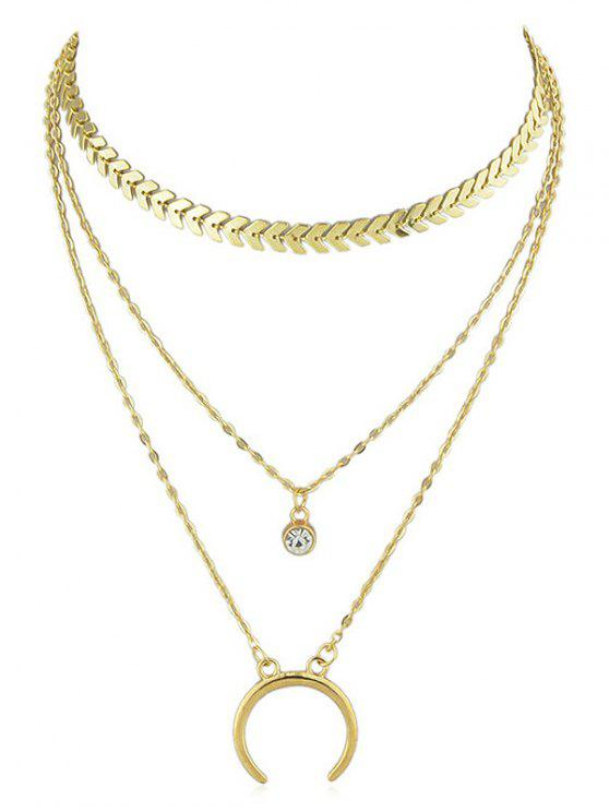 fancy Crescent Moon Rhinestone Layer Fishbone Chain Necklace - GOLD