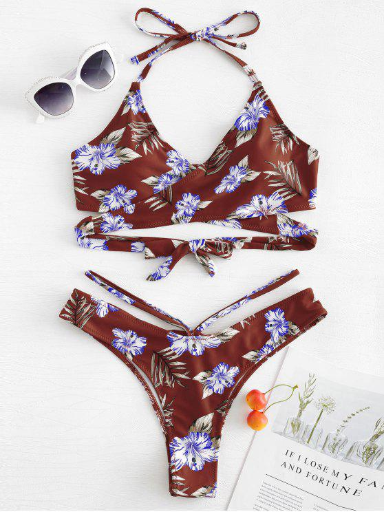 best Floral Leaf Print Wrap Bikini Set - FIREBRICK M