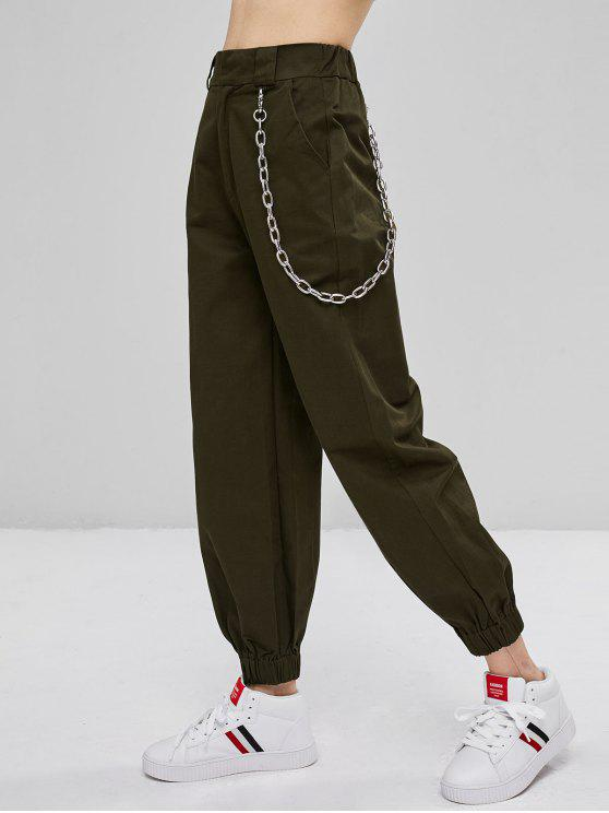 Chain Embellished Jogger Pants   Army Green M by Zaful