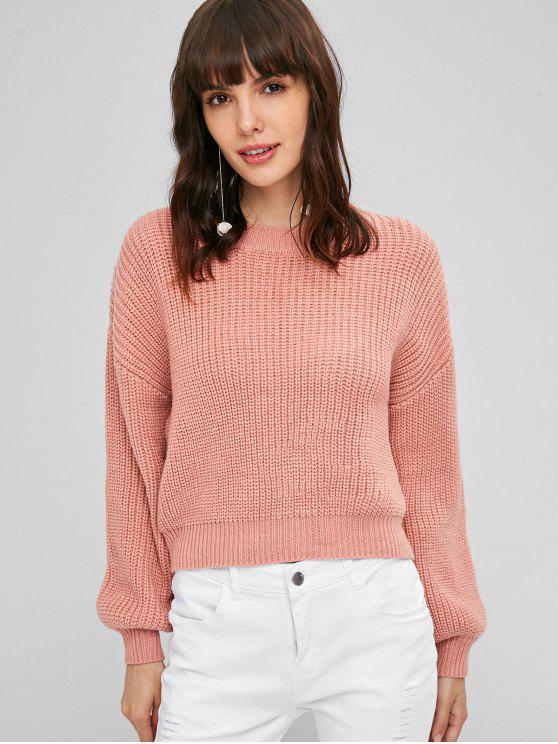 Pull-over Uni et à Grosses Nervures - Rose Taille Unique