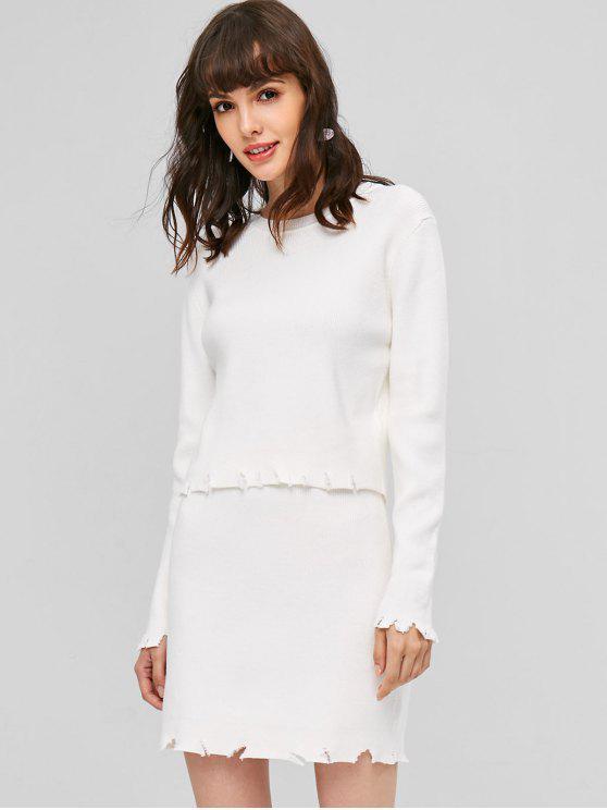 unique Ribbed Ripped Hem Skirt Set - WHITE M