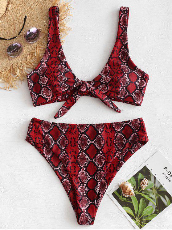 Bikini In Pelle Di Serpente Con Taglio Alto - Vino Rosso L