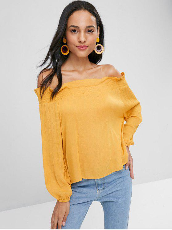 lady Smocked Panel Off Shoulder Top - BEE YELLOW S