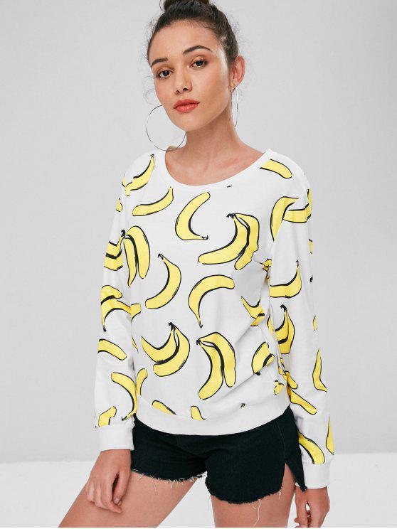 Pull-over Mignon Imprimé de Bananes - Blanc S
