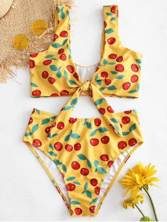 Bikini Taille Haute Noué et Imprimé de Cerises - Jaune Clair L