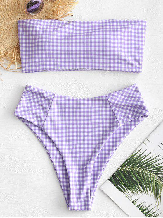 outfit Plaid High Cut Bandeau Bikini Set - MEDIUM PURPLE L