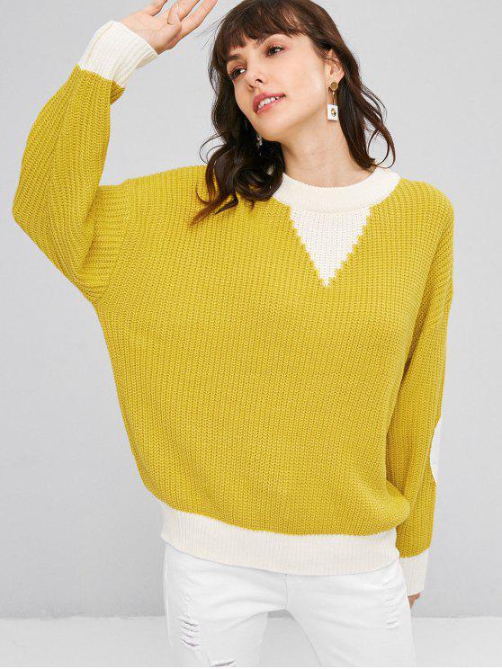 Ellenbogen Patches Farbblock Pullover - Niedliches Gummi Gelb Eine Größe