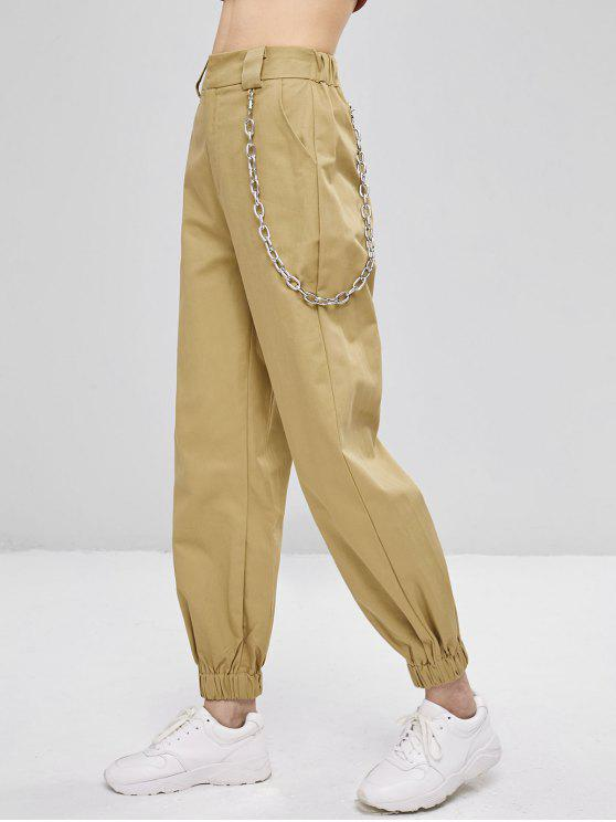hot Chain Embellished Jogger Pants - LIGHT KHAKI L