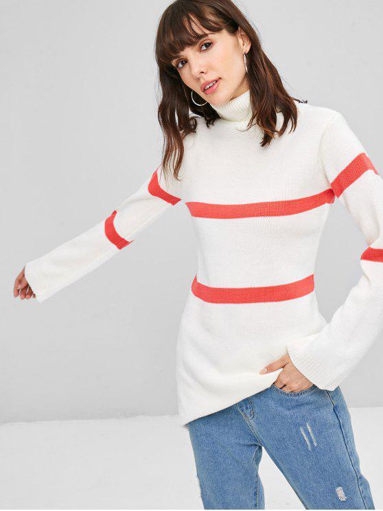 women ZAFUL Stripe Turtleneck Sweater - WHITE L