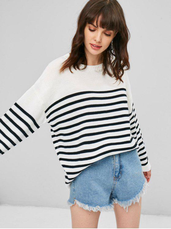 women Striped Loose Sweater - WHITE ONE SIZE