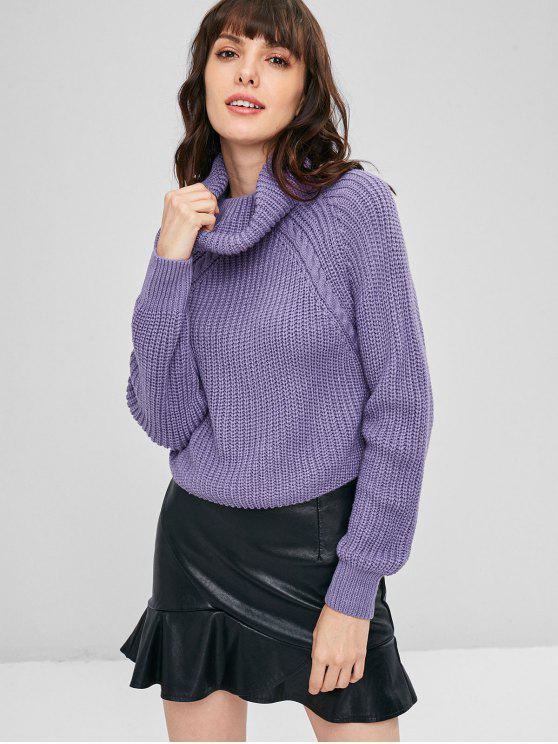 shops ZAFUL Cable Knit Turtleneck Cropped Sweater - MEDIUM PURPLE L