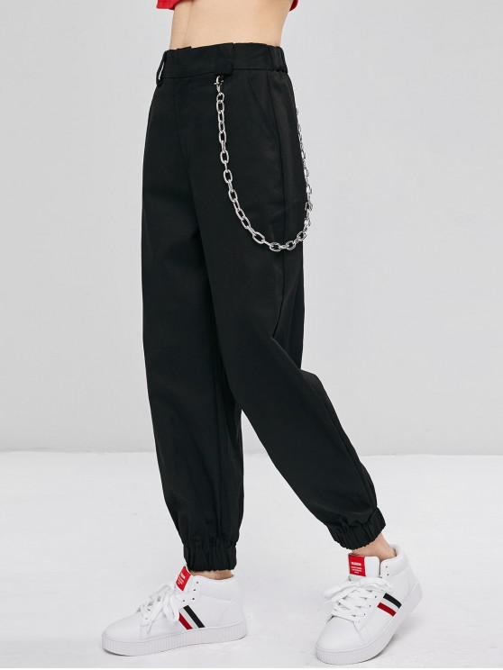 lady Chain Embellished Jogger Pants - BLACK S