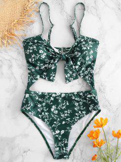 Maillot De Bain Floral Avec Découpes Et Noué  - Vert Mer Moyen M