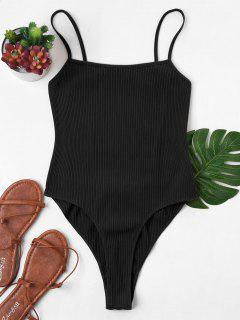 Backless High Cut Bodysuit - Black S