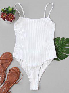 Rückenfreier Hohe Schlitz Bodysuit - Weiß Xl