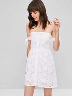 Button Up Knotted Mini Dress - White L