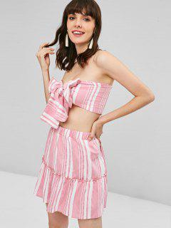 Knotted Striped Skirt Set - Pig Pink M