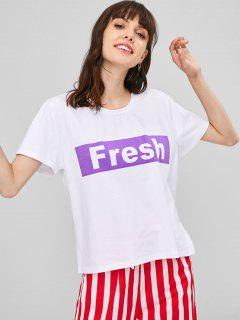 Contrasting Graphic Relaxed Fit T-Shirt - White L