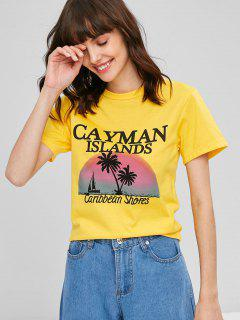 Tropical Motif Graphic T-Shirt - Bright Yellow L